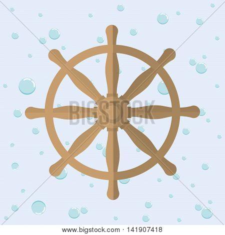 Rudder nautical marine icon. Sea lifestyle. Colorfull Vector illustration