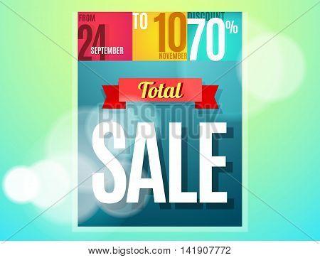 Total sale banner color design. Vector illustration template