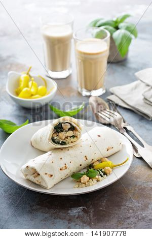 Vegan breakfast burritos with kale, chickpeas, quinoa and pickled chili