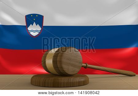 Slovenia law and court justice system with national flag, 3D rendering