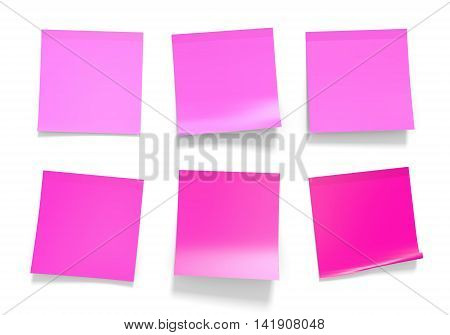 Set of pink office sticky notes for reminders and important information, 3D rendering