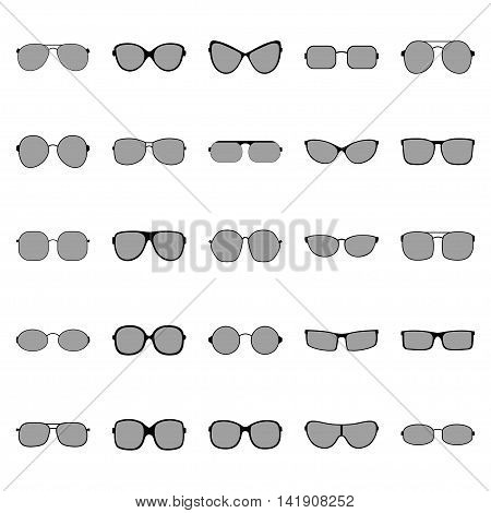 Set of glasses and sunglasses, vector illustration
