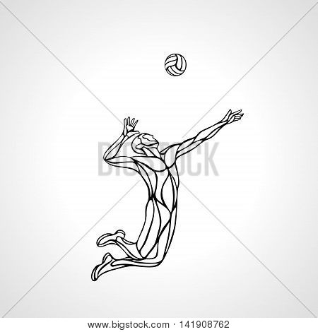 Volleyball player serving the ball - outline vector silhouette. Modern simple volleyball sportsman. Eps 8
