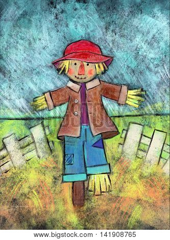 Acrylic painting of a scarecrow standing in a field with a white fence behind him.