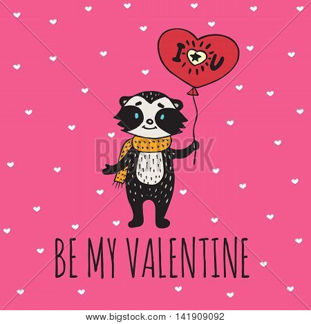 Valentines Day card with illustrated raccoon with balloon-heart. Vector illustrated colorful raccoon with balloon on pink background.