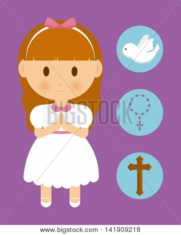 girl kid cartoon dove cross rosary icon. First communion concept. Flat and Colorfull illustration. Vector graphic