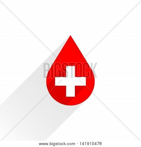 Donate drop blood red sign with gray long shadow on white background in simple flat style. Graphic design elements vector illustration save in 8 eps