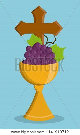 cup gold grapes religion icon. First communion concept. Flat and Colorfull illustration. Vector graphic