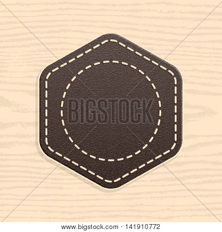 Blank leather badge in retro vintage style. Rounded hexagon shape on wood texture pattern background. Template Satisfaction Guaranteed and Premium Quality labels. Vector illustration in 10 eps