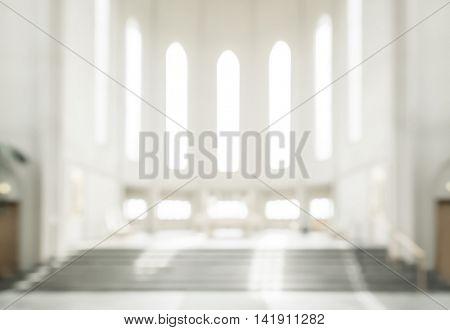 bokeh interior of modern  lutheran, christian church
