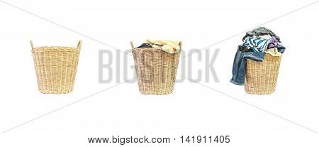Closeup empty wood weave basket for used clothes and wood weave basket with pile of clothes in house isolated on white background