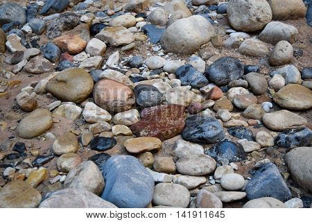 Multi-colored River Rocks and Sand, Up Close