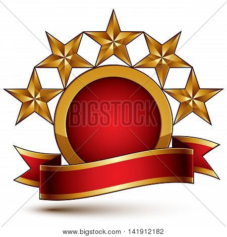 Geometric vector glamorous round element with red filling