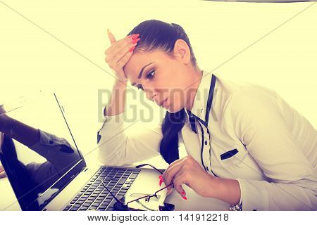 Worried Woman Over Laptop