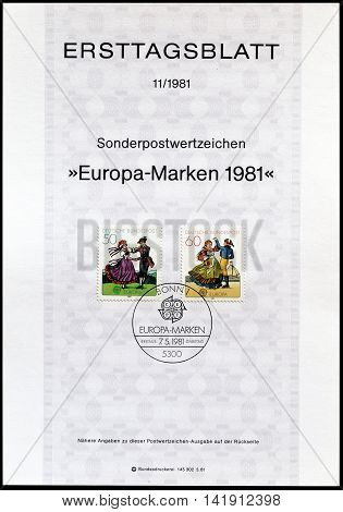 GERMANY - CIRCA 1981 : Cancelled First Day Sheet printed by Germany, that shows Folklore.