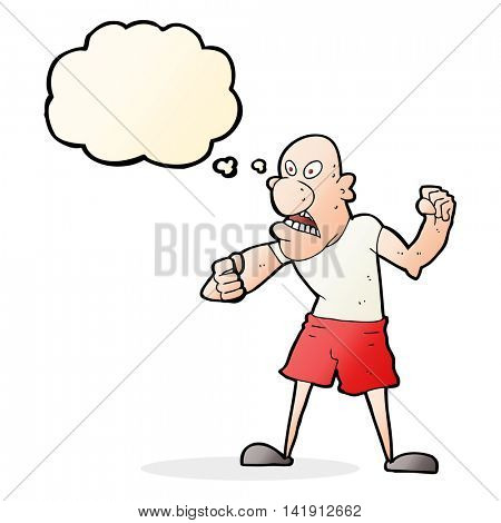 cartoon violent man with thought bubble