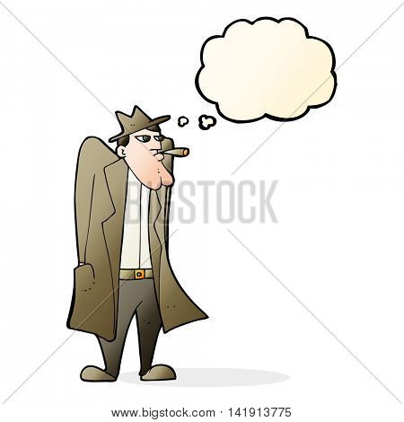 cartoon man in hat and trench coat with thought bubble