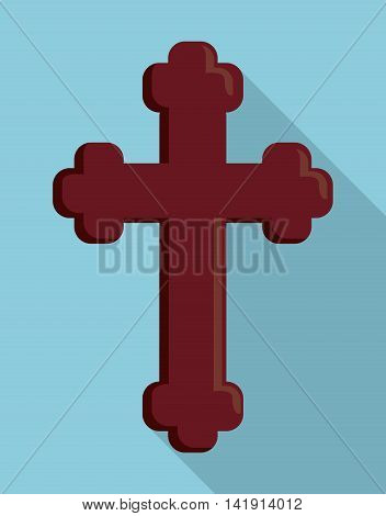 cross wood religion church icon. First communion concept. Flat and Colorfull illustration. Vector graphic