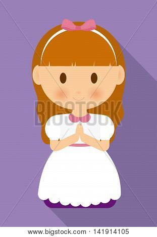 girl kid cartoon white dress icon. First communion concept. Flat and Colorfull illustration. Vector graphic