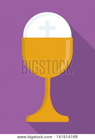 gold cup religion icon. First communion concept. Flat and Colorfull illustration. Vector graphic