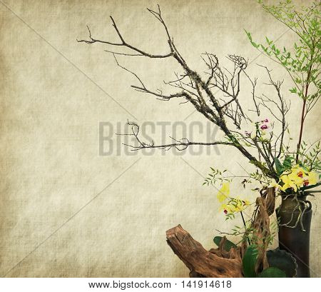 Retro grunge background with dry tree and Flower arrangement