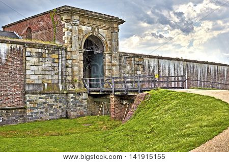 Bridge Entrance to Fort Washington, a Military fort established in the 1800's to protect Washington DC situated on the Maryland coastline of the Potomac River