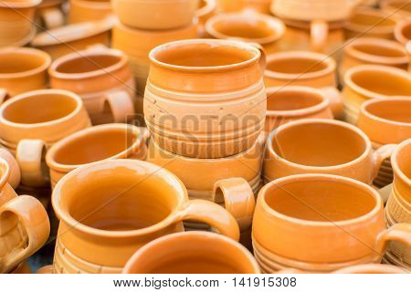 KOLKATA WEST BENGAL INDIA - NOVEMBER 28TH 2015 : terracotta pots artworks of handicraft on display during Handicraft Fair in Kolkata - the biggest handicrafts fair in Asia.