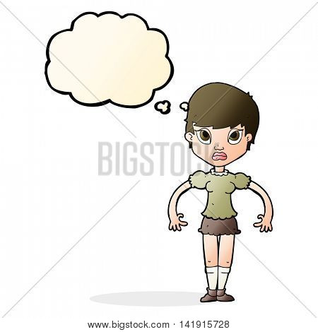 cartoon woman looking annoyed with thought bubble
