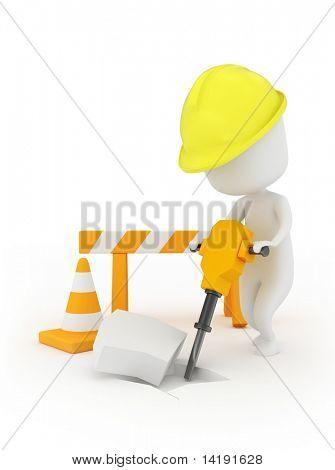 3D Illustration of a Man Using a Jackhammer
