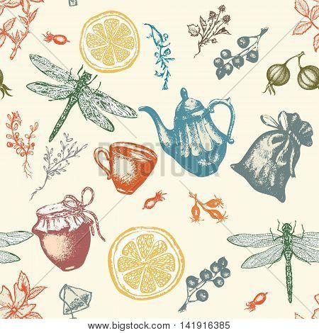 Herbal tea seamless pattern vector botanical decorative vintage background