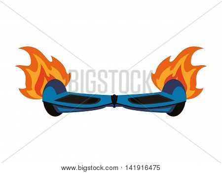 flat design horverboard in flames icon vector illustration