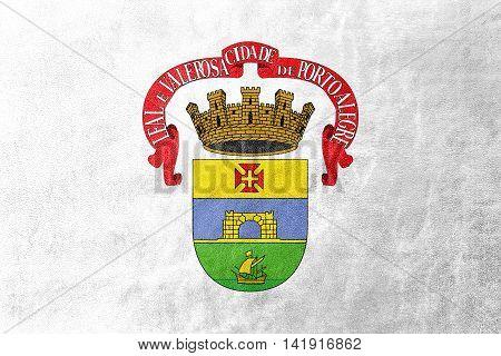 Flag Of Porto Alegre, Rio Grande Do Sul, Brazil, Painted On Leather Texture