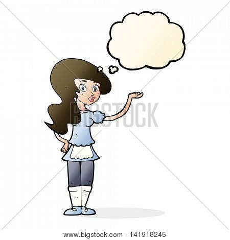 cartoon waitress with thought bubble