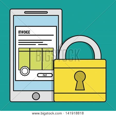smartphone padlock document paper invoice payment icon. Flat and Colorfull illustration. Vector graphic