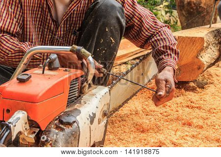 Blur motion of man sitting filings chainsaw blade with cut wood