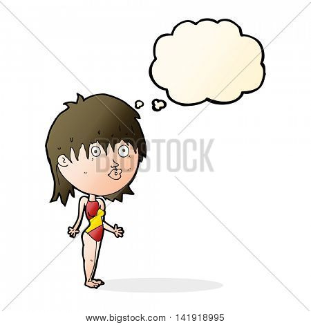 cartoon woman in swimsuit shrugging shoulders with thought bubble