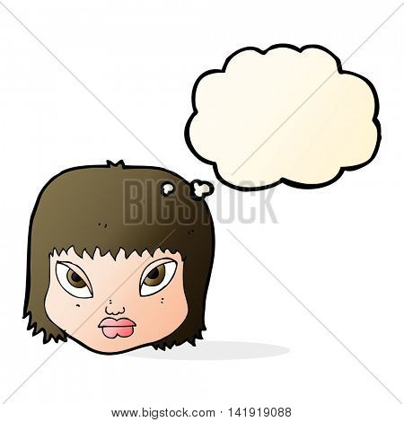 cartoon annoyed face with thought bubble