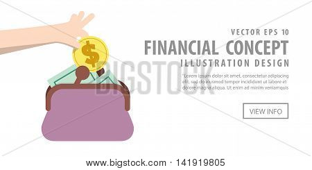 Banner Saving Money And Spending With Purse Illustration Vector. Finance Concept.
