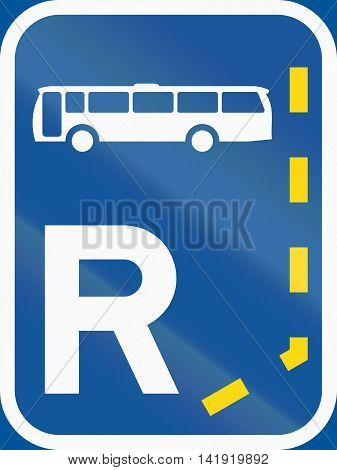 Road Sign Used In The African Country Of Botswana - Start Of A Reserved Lane For Buses