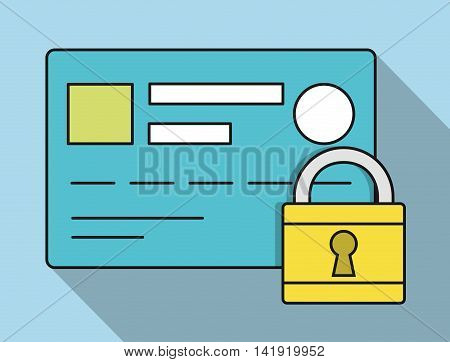 credit card padlock invoice payment icon. Flat and Colorfull illustration. Vector graphic