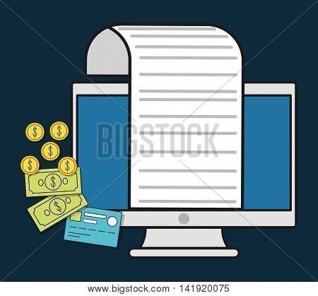 computer bills coins document paper invoice payment icon. Flat and Colorfull illustration. Vector graphic