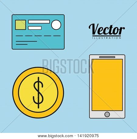 smartphone credit card coin invoice payment icon. Flat and Colorfull illustration. Vector graphic