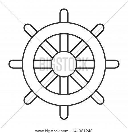 flat design boat rudder icon vector illustration