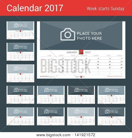 Wall Monthly Calendar For 2017 Year. Vector Design Print Template. Week Starts Sunday. Landscape Ori