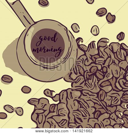 Coffee pot with a long handle and coffee beans with the phrase good morning. Top view. Retro colors.