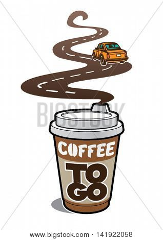 Poster to window dressing. Coffee to go. Vector illustration
