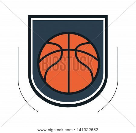 flat design basketball theme emblem icon vector illustration