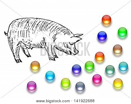 Casting pearls before swine, pig drawing with glass balls