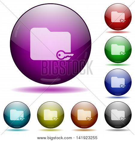 Set of color Secure folder glass sphere buttons with shadows.