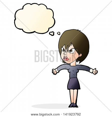 cartoon annoyed girl with thought bubble